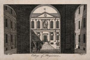 view Royal College of Physicians: the courtyard, viewed through the pillars of the entrance, with gentlemen standing about. Engraving by J. Taylor after S. Wale, 1761.