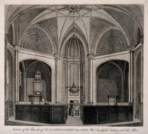 view St Bartholomew the Less, Smithfield, London: the interior with a lady and her daughter near the altar, a man half-hidden behind the pews to the left. Engraving.