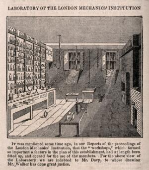 view London Mechanics' Institute, Southampton Buildings, Holborn: the interior of the laboratory, in a cellar. Wood engraving by W. C. Walker after Mr. Davy [1828].