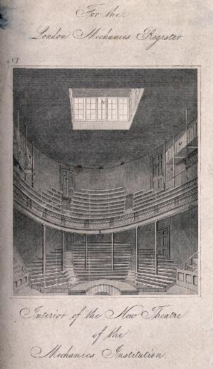 view London Mechanics' Institute, Southampton Buildings, Holborn: the interior of the lecture theatre. Engraving, 1825.