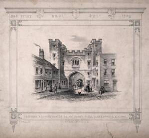 view St John's Gate, Clerkenwell, London: the north side. Lithograph by R. K. Thomas after W. P. Griffith, 1845.