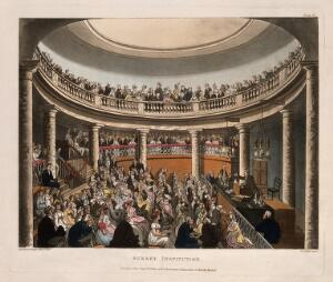 view Surrey Institution, Blackfriars Road, Southwark, London: the interior of the rotunda, F. Accum lecturing. Coloured aquatint by J. C. Stadler, 1809, after T. Rowlandson and A. C. Pugin.