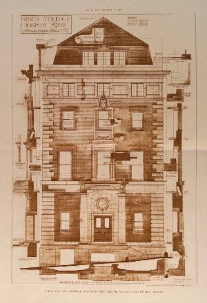 view King's College Hospital, Denmark Hill, London: elevation of the administration block, with many details and a scale of feet. Process print after W. A. Pite, 1912.