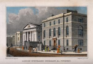 view London Ophthalmic Infirmary, and the Catholic church, Finsbury. Coloured engraving by R. Acon after T. H. Shepherd.