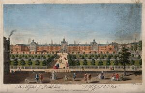 view The Hospital of Bethlem [Bedlam] at Moorfields, London: seen from the north, with lunatics capering in the foreground. Coloured engraving by T. Bowles after J. Maurer.