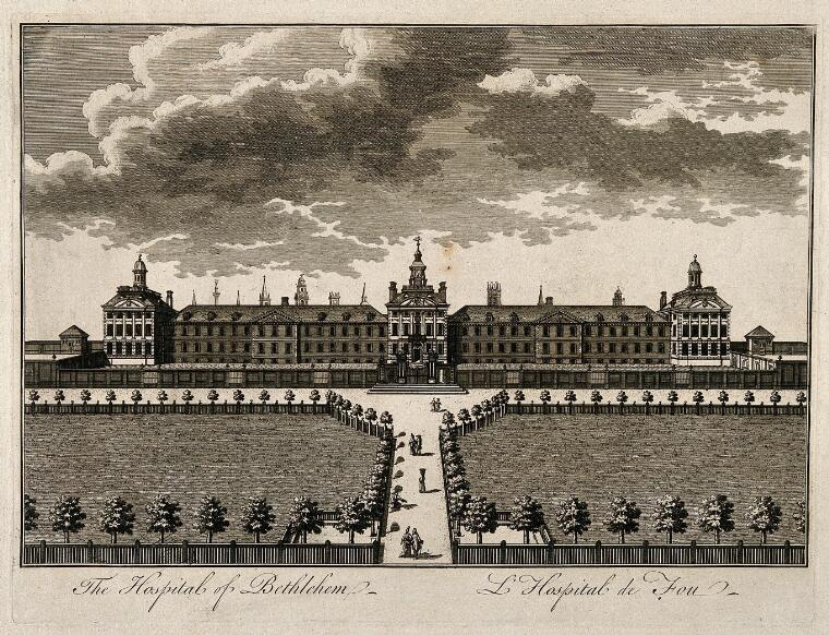 The Hospital of Bethlem [Bedlam] at Moorfields, London: seen