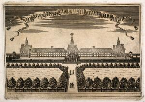view The Hospital of Bethlem [Bedlam] at Moorfields, London: seen from the north, with people walking in the foreground. Engraving.