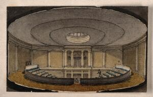 view The London Institution, Moorfields: the interior of the lecture theatre. Watercolour by R. B. Schnebbelie, [1820].
