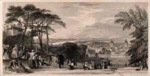 view Greenwich Hill, with many visitors, London in the distance. Engraving by T. A. Prior.