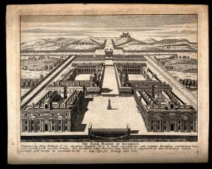 view Royal Naval Hospital, Greenwich: with the statue of King George II in place. Engraving.