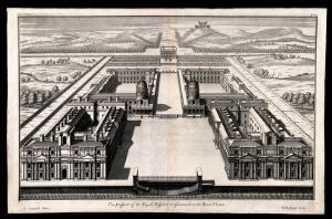 view Royal Naval Hospital, Greenwich. Engraving by H. Hulsbergh after C. Campbell, 1715.