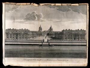 view Royal Hospital, Greenwich, with the statue of George II in the courtyard. Engraving by B. Cole.