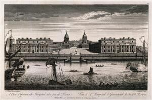 view Royal Naval Hospital, Greenwich, with ships and rowing boats in the foreground. Engraving by Millam, 1823, after T. Bowles, 1753.