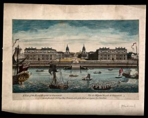 view Royal Naval Hospital, Greenwich, with ships and rowing boats in the foreground. Coloured engraving by T. Bowles, 1753.