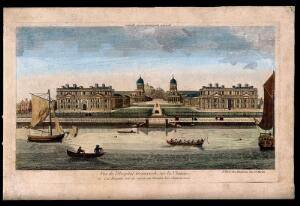 view Royal Naval Hospital, Greenwich, with ships and rowing boats in the foreground. Coloured engraving after T. Bowles, 1753.