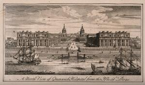 view Royal Hospital, Greenwich, with many small houses either side and ships in the foreground. Engraving.