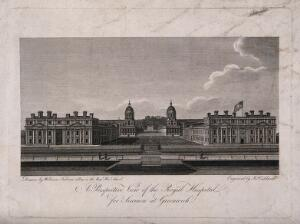 view Royal Hospital, Greenwich, with the statue of George II in the courtyard. Engraving by J. Caldwall after W. Fabian.