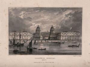 view Royal Naval Hospital, Greenwich, with ships and rowing boats in the foreground. Engraving by J. Rogers, 1830, after Campion.