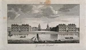 view Royal Naval Hospital, Greenwich, with ships and rowing boats in the foreground. Engraving.