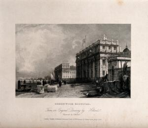 view Royal Hospital, Greenwich, seen from the west, with fishermen, nets drying, and large blocks of stone. Engraving by J. Henshall after J. Holland.