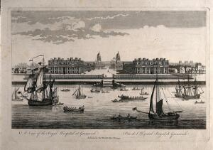 view Royal Naval Hospital, Greenwich, from the Isle of Dogs, with ships and rowing boats in the foreground. Engraving, 1753.