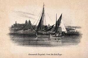 view Royal Naval Hospital Greenwich, viewed from afar with ships and fishermen in the foreground. Lithograph.