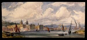 view Royal Naval Hospital Greenwich, viewed from afar with many ships in the foreground. Watercolour.