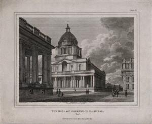 view Royal Naval Hospital, Greenwich, a three-quarter view of the Hall. Engraving by J. Storer after F. Nash, 1803.
