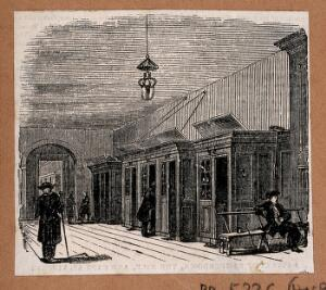 view Royal Naval Hospital, Greenwich: the interior of one of the wards, with some càbbins' and several pensioners. Wood engraving.