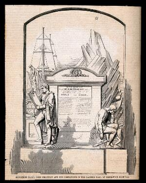view Funeral monument to Sir John Franklin in the Painted Hall at Greenwich Hospital. Wood engraving.
