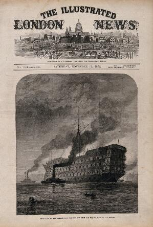 view H.M.S. Dreadnought, a hospital ship, being towed to the breakers by tugs. Wood engraving by J. Greenaway, with letterpress and view of St Paul's Cathedral in title area, 1872.