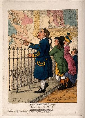 view A Greenwich Pensioner showing the Thornhill decorations in the Painted Hall to a family of visitors. Coloured etching by T. Rowlandson after [J. N.] Esq, 1807.