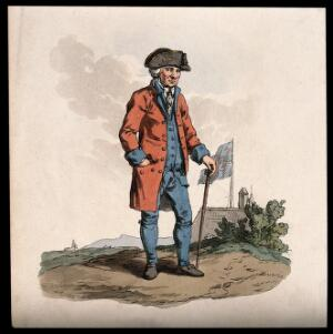view A Chelsea Pensioner, standing in a landscape: a building, flying the Union flag, behind him. Coloured aquatint, 1813.