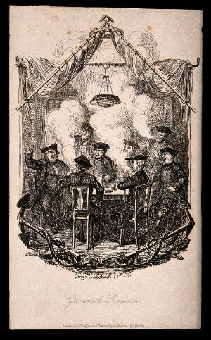 view A group of Greenwich Pensioners smoking and drinking. Etching by G. Cruikshank, 1834.