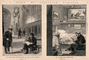 """view Everyday life at Greenwich Hospital: left, Pensioners in one of the wards, right, inside one of the """"cabbins"""". Wood engravings by M. Jackson, 1865."""