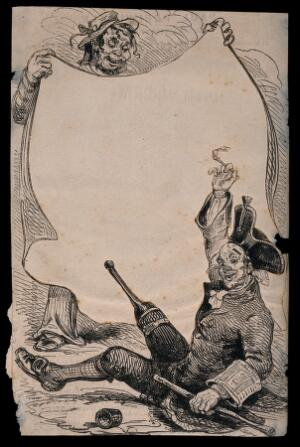 view A Greenwich Pensioner, with a pipe in one hand and a stick in the other, being rolled out of a sheet [hammock?] by a sailor. Wood engraving by J. Jackson.