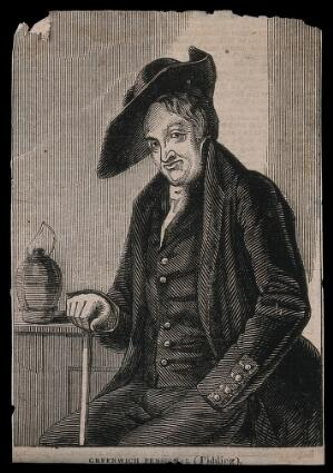 view A Greenwich Pensioner, seated, with a jug near his left hand. Wood engraving.