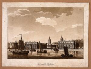 view Royal Naval Hospital, Greenwich, with ships and rowing boats in the foreground. Aquatint.