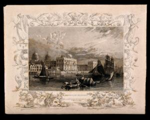 view Royal Naval Hospital, Greenwich: with ships and fishermen in rowing boats, in the foreground. Engraving.