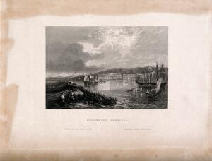 view Royal Naval Hospital, Greenwich, with ships, rowing boats, and mudlarks [?], in the foreground. Engraving.