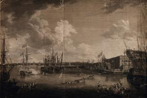 view Royal Naval Hospital Greenwich, on the left, viewed from afar with many ships in the foreground, on the right the Royal Dockyard on the Isle of Dogs. Engraving.