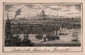view Greenwich, with London in the distance. Engraving.