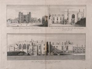 view Hospital of the Knights of St. John of Jerusalem, Clerkenwell, London. Engraving after W. Hollar.