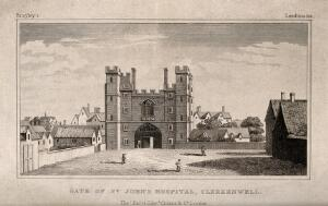 view Gate of the Hospital of the Knights of St. John of Jerusalem, Clerkenwell, London, surrounded by thatched domestic buildings. Engraving after W. Hollar.