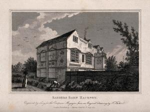 view Barber's Barn, Hackney, a timber-framed building with decorative plasterwork, two ladies walking in the garden, a gardener at work. Engraving by Lacy, 1811, after T. Fisher.