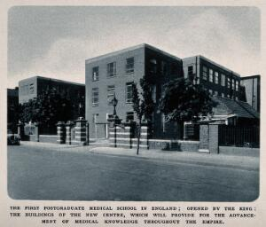 view The British Postgraduate Medical School, Hammersmith, London. Photogravure.