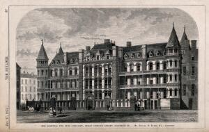 view The Hospital for Sick Children, Great Ormond Street, London: the main facade. Wood engraving by W. E. Hodgkin after D. R. Warry, 1872.