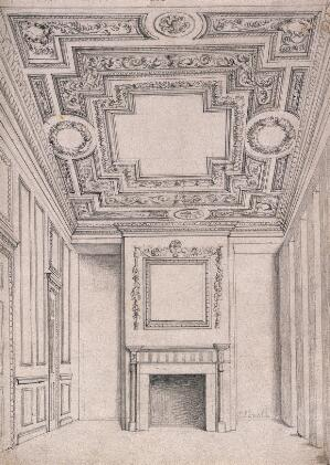 view The first floor front room at No. 19 Greville Street, Holborn: looking towards the fireplace. Pencil drawing by J. P. Emslie, c.1882.