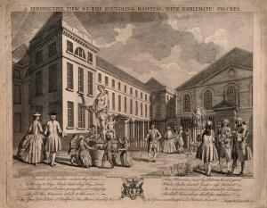 view The Foundling Hospital, Holborn, London: a perspective view looking north-west at the main building, happy children dancing round a statue of Flora [?]. Engraving by C. Grignion and P. C. Canot after S. Wale, 1749.