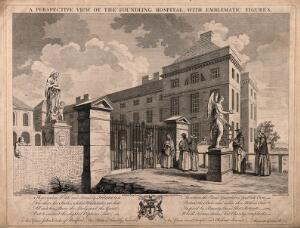 view The Foundling Hospital, Holborn, London: a perspective view looking north-east at the main building, with penitent mothers arriving beside a statue of fortune. Engraving by C. Grignion and P. C. Canot after S. Wale, 1749.